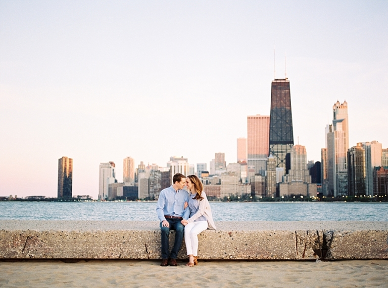 Engagement Session at North Avenue Beach with Chicago Skyline